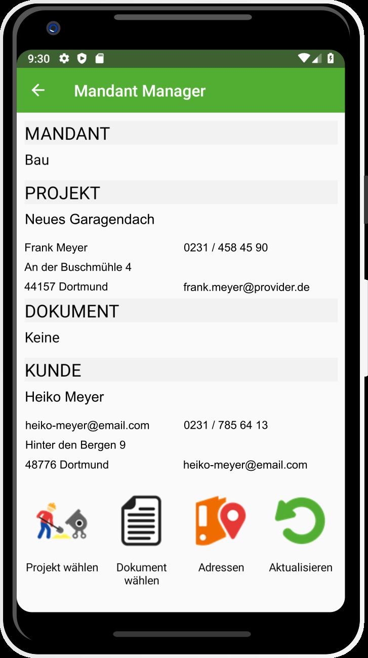 App eZeit Projektverwaltung