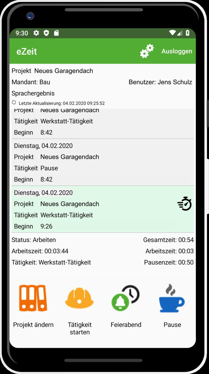 App eZeit Startseite