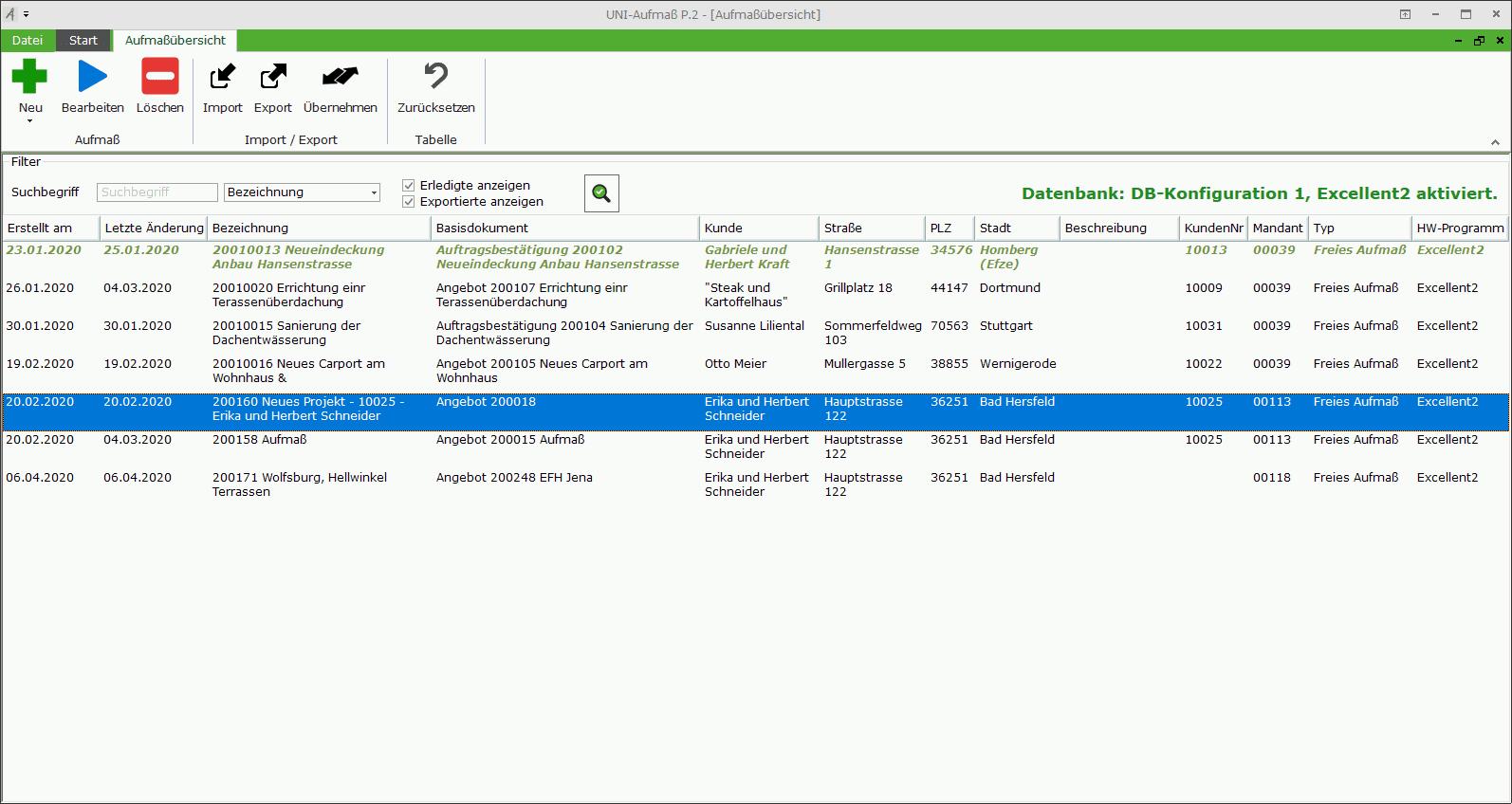 Aufmass P.2 Screenshot - Übersicht