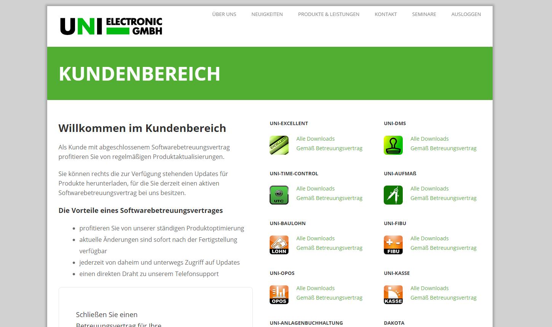 Startseite neuer Kundenbereich der UNI ELECTRONIC